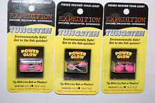 3 packs expedition tungsten ice fishing jig jigs size 8 saucer pink power glow