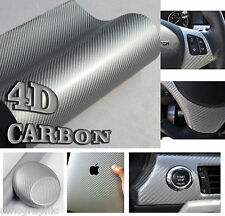 Silver Gloss 4D Carbon Fibre Vinyl Film Adhesive Wrap Air Bubble Free Sticker