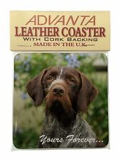 German Wirehair Pointer 'Yours Forever' Single Leather Photo Coaster, AD-GWP1ySC