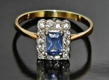 Victorian 9ct Yellow Gold on Silver Tanzanite Cluster Ring - size P