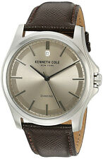 Kenneth Cole NY Men's Diamond Stainless Steel Brown Leather Watch 10027417