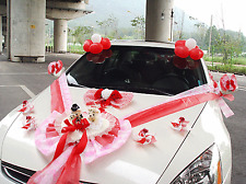 Wedding Car Decorations kit Red Teddy bear Dolls Ribbon Garland balloons