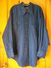 Miller Western Wear Vintage Navy Blue Long Sleeve Pearl Snap Shirt, Mens 18-34