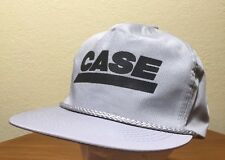 VINTAGE Case Tractors Gray Belt Back Hat Rope USA Baseball Cap