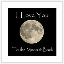 Greetings Card Birthday / Blank Notelet - Love You to the Moon & Back Valentine