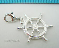 1x STERLING SILVER SHIP WHEEL PENDANT EUROPEAN LOBSTER CLIP ON CHARM #2091
