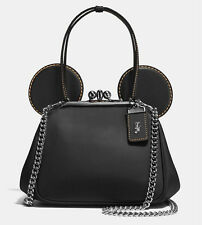DISNEY X COACH  MICKEY Mouse Ears  Kisslock Black Bag  Gift box NWT