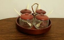 Souvenir Four Bowl Condiment Set w/Redwood Lids  from The Stump House Eureka, Ca