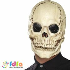 LATEX SKELETON MASK MOVING JAW HALLOWEEN Mens Fancy Dress Costume Accessory