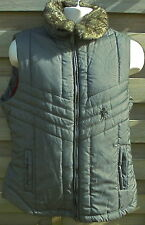 unisex man lady padded gilet removeable fur collar Caldene zip check FAST POST