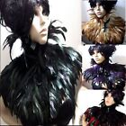 FEATHER CAPE SHRUG VICTORIAN BURLESQUE JACKET WRAP BLACK RED IVORY CREAM PURPLE