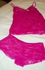 2X Camisole Set Sheer Lace Fusia Berry Wine  Nightie Cami & Panty / Boyshort