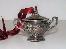 Gorham Chantilly Sugar Bowl only Christmas Ornament Silver Plate