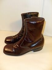 VINTAGE Men's Towncraft Square Toe Zip Boots RETRO Cordovan Brown Leather-9 B/AA