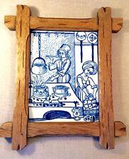 Vintage Gerold-Porzellan Bavaria ~Framed Tile Plaque~ Medieval Kitchen 1485~RARE