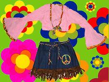 209 ✪ trombe Tunica Manica e minigonna Peace Costume HIPPIE WOODSTOCK FESTIVAL