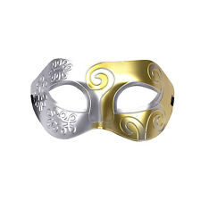 Mens Roman Warrior Two Tone Masquerade Ball Prom Halloween Mask. Silver / Gold
