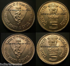 India Die Crack Variety Women Health Child Infant Baby  Coin Set 5 Rs Unc NEW
