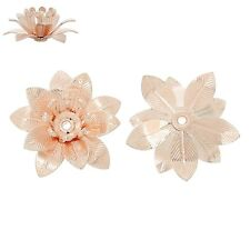 2x tapas de perlas perlkappen remates filigrana flores para 4mm perlas Rosegold