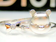 sz 6.5 or 7  AUTH DISNEY WINNIE THE POOH BEAR 2-PC STERLING PLATINUM RING