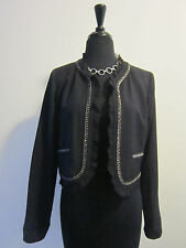 DYLAN AND ROSE Anthropologie Blazer Black with Chain Detail Sz 4 GORGEOUS!