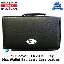 1 x  120 Sleeve CD DVD Blu Ray Disc Wallet Holder Bag Storage Carry Case Leather