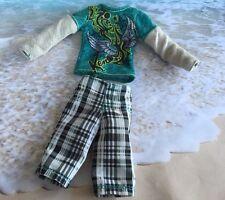 BARBIE'S KEN FASHION CLOTHES OUTFIT LONG SLEEVE KEN LOGO SHIRT W LONG SHORTS