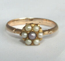 Old vintage solid gold pearl daisy ring size M1/2