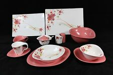 45 Piece Dinner Set in Pink Flower for 6 people