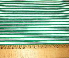 1 yd GREEN n WHITE STRIPE 100% Cotton Fabric WINDHAM PAPER DOLL CHRISTMAS #30862