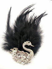 Elegant Silver Swan Black Marabou Feather Clear Crystal  Brooch Pin