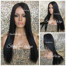 Long Straight Layered Lace Front Wig Dark Brown #2 Middle Part Heat Safe Ok