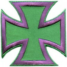 IRON CROSS PATCH purple/green - rat fink kar kulture psychobilly biker