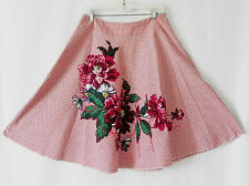 P.A.R.O.S.H Skirt A-Line Cotton Striped Floral Patching Red/White Size M Italy