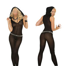 Sexy Lady Women Footless V Neck Black Body Stocking with Hood Hooded Long Sleeve
