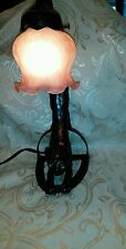 Vintage Art Deco Arching Stretching Cat Lamp w/green  light up eyes.