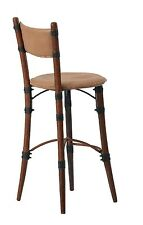 "44"" H Bar stool chair polished hardwood Italian light brown leather upholstered"