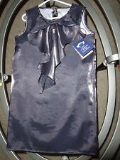 NWT *APPAMAN* sz 7 gray silver metallic cascade bow girls poly dress holiday $71