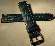 New Mens Made in France Green Shark Grain 20mm Watch Band Chrome Buckle $24.99