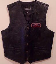 Men's Navaare Leather Co. Motorcycle Black Vietnam Vet Leather 2XL Biker Vest