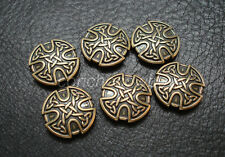 Set of 6 HORSE TACK ANTIQUE BRASS CRAFT CELTIC CROSS CONCHOS 1 inch screw back