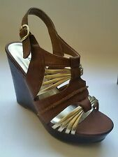 NEW Madden Girl Size 6~ Brown & Gold~Open Toe Wedges Womens Shoes