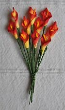 50 RED YELLOW Mulbery Paper miniature arum CALLA LILY for crafts wedding  card
