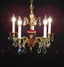 ANTIQUE French 5 Arm 5 Light Oxblood Empire Brass Cut Lead Crystal Chandelier
