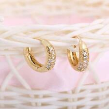 Earrings 18K Gold Plated Vintage Retro Hoop Clear Crystal Zircon for Women Girls