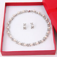 Pearl Necklace Set Wedding Bridesmaid Swarovski Element Crystal Jewelry Sets