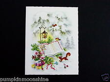 Vintage Alfred Mainzer Xmas Greeting Card Woodland Creatures Reading Book