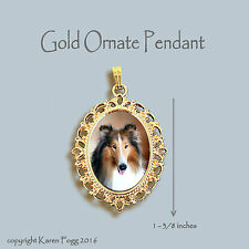 COLLIE DOG  - ORNATE GOLD PENDANT NECKLACE
