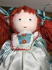 """VINTAGE APPLAUSE 15"""" LIZZY TISH 1984  RED HAIR FRECKLE PIGTAILS PLUSH RAG DOLL"""