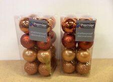 32 (2x16) Rame Mix 50mm INFRANGIBILE palline per albero di Natale decorazioni a tema